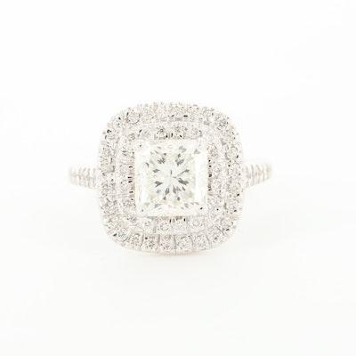 14K White Gold 1.70 CTW Diamond Double Halo Ring with GIA Report