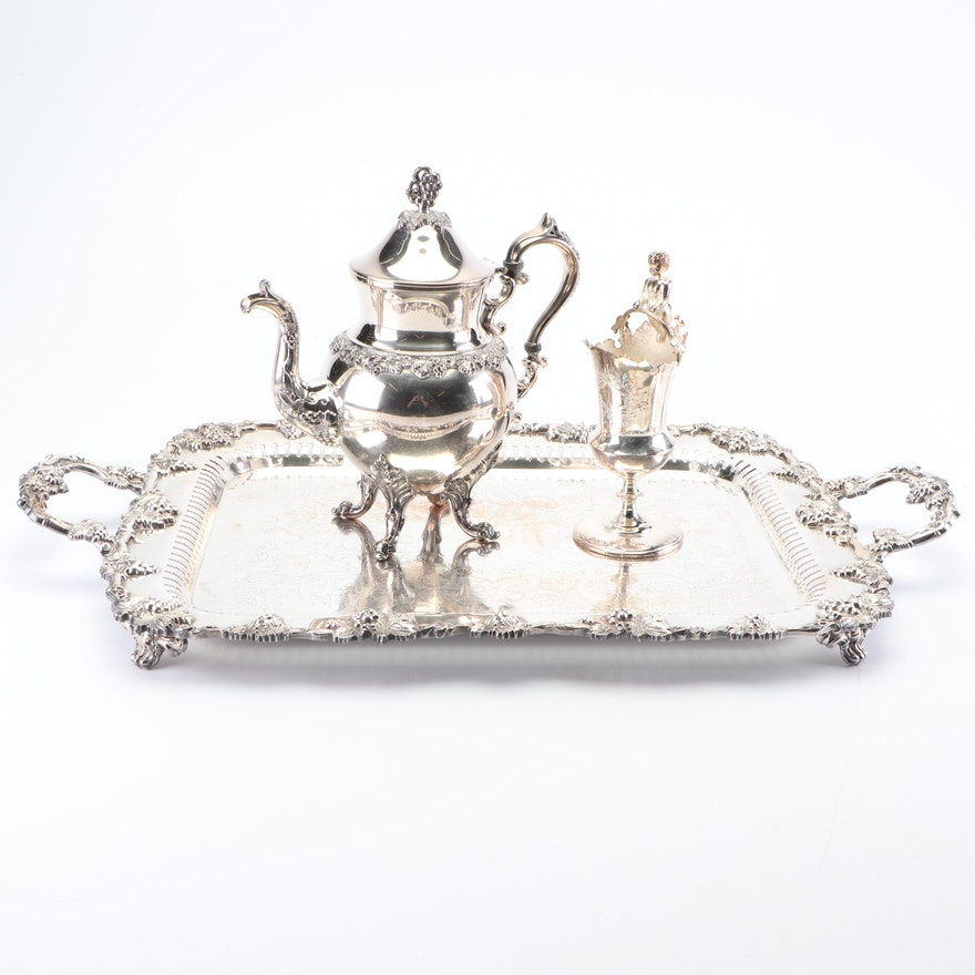 Birmingham Silver Co. Silver Plate Teapot with Vase and Footed Tray