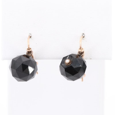 Vintage 14K  Yellow Gold Black Onyx and Seed Pearl Earrings