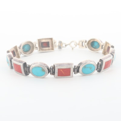 Sterling Silver Imitation Coral and Imitation Turquoise Bracelet