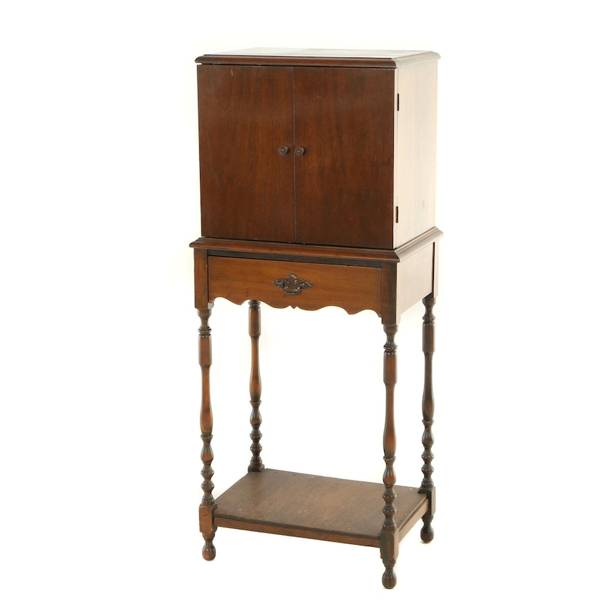 Federal Style Walnut-Stained Cabinet-on-Stand, 20th Century