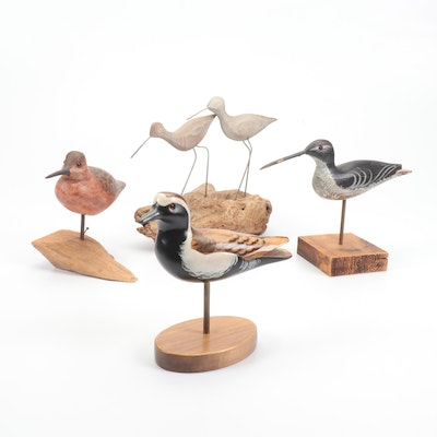 """Wooden Dowitcher Figurines and A Wooden Bird Factory """"Golden Plover"""""""
