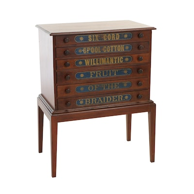 American Cherrywood Six-Drawer Spool Chest on Later Stand