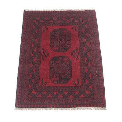 3'4 x 4'10 Hand-Knotted Afghani Turkoman Rug, Circa 1980s