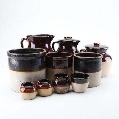 Albany Slip Glazed Stoneware Crocks, Jugs and Mustard Pots Including Ransbottom