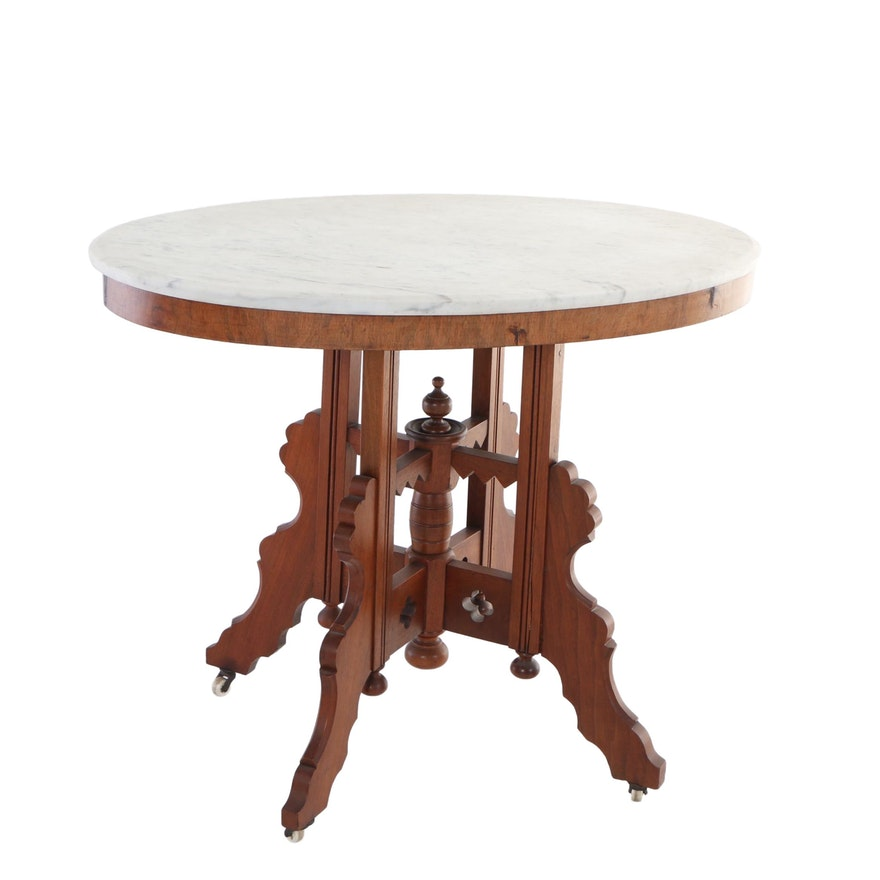 Victorian Walnut and White Marble Center Table, Late 19th Century