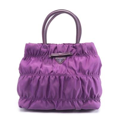 Prada Anemone Nylon Tessuto Gaufre Top Handle Bag
