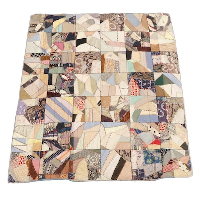 """Handcrafted Patchwork """"Crazy"""" Quilt, Early 20th Century"""