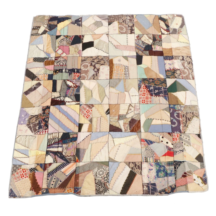"Handcrafted Patchwork ""Crazy"" Quilt, Early 20th Century"