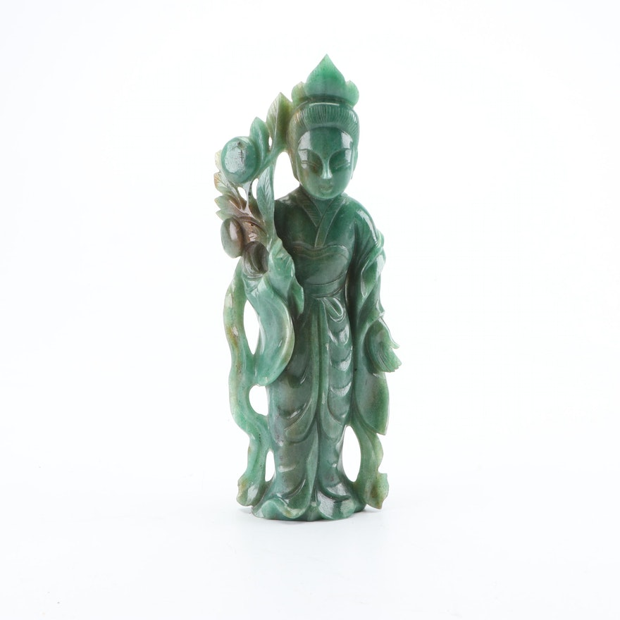 Chinese Carved Aventurine Quartz Guanyin Figurine