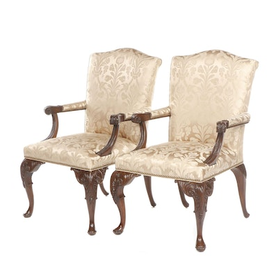 Pair of Contemporary George II Style Beige Damask Upholstered Chairs