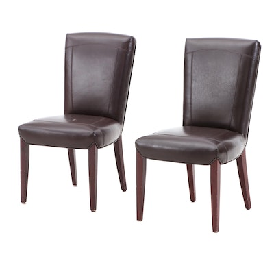 Arhaus Leather Side Chairs, Pair