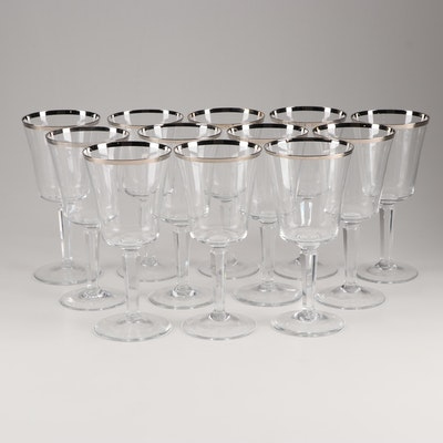 "Lenox ""Solitaire"" Platinum Trim Crystal Water Goblets"