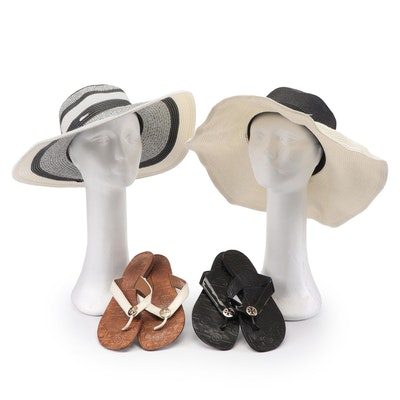 Tory Burch Sandals and Woven Straw Sun Hats Featuring Calvin Klein