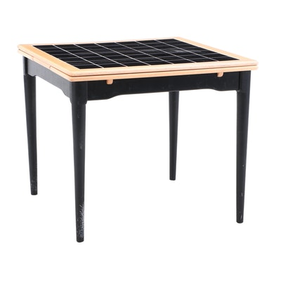 Modern Drop Leaf Black Tile-Top Draw Leaf Table, Contemporary