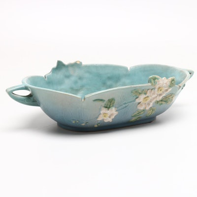 "Roseville Pottery ""White Rose"" Console Bowl, 1940s"