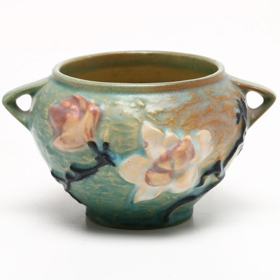 "Roseville Pottery ""Magnolia"" Blue Rose Bowl, 1940s"