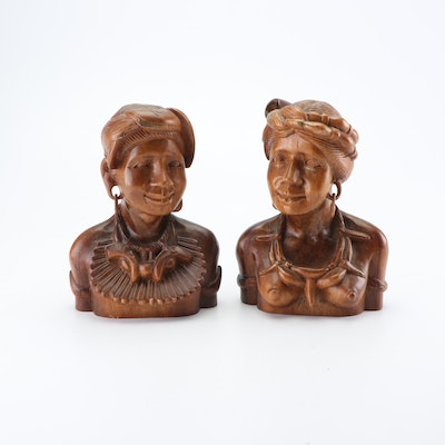 African Style Carved Wooden Busts