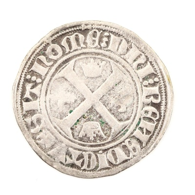 Hammered French 1-Blanc Silver Coin of Charles VI, ca. 1390