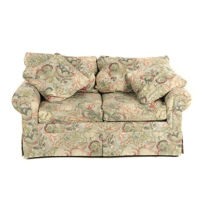 Contemporary Floral Watercolor Print Upholstered Loveseat Sofa
