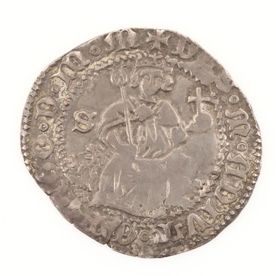 Hammered Kingdom of Naples 1-Carlino Silver Coin of Alfonso I, ca. 1442