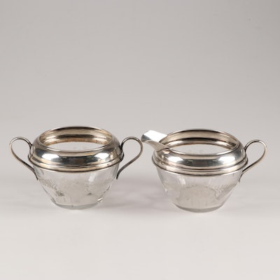 Hawke Etched Glass Sterling Silver Collared Creamer and Sugar