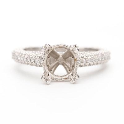 Platinum 1.00 CTW Diamond Semi-Mount Ring