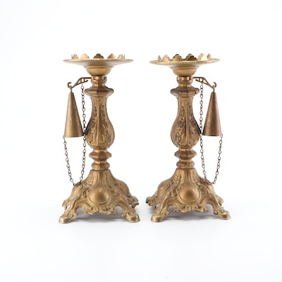 Baroque Style Cast Metal Candlesticks with Attached Snuffers