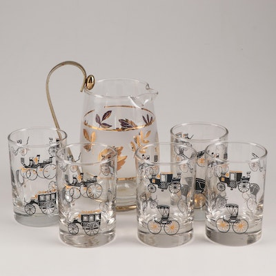 """Libbey Glass Company """"Golden Foliage"""" Pitcher and """"Horseless Carriage"""" Glasses"""