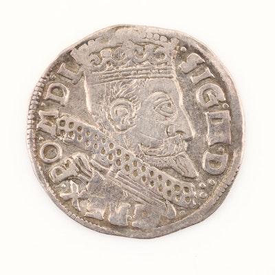 1599 Poland 3-Groszy Silver Coin of Sigismund III
