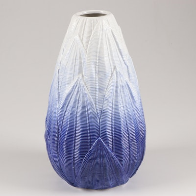 Textured Leaf Ombre Ceramic Vase