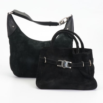 Casini Firenze Black Suede Hobo Shoulder Bag and Handbag