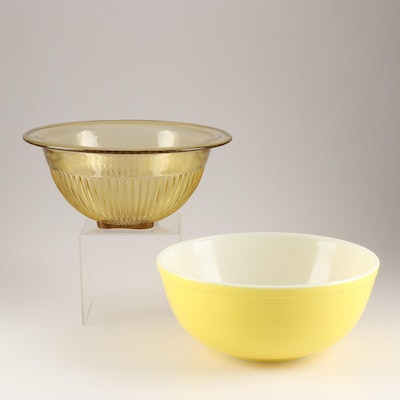 "Pyrex ""Primary Colors"" Mixing Bowl and Federal Glass Bakeware"