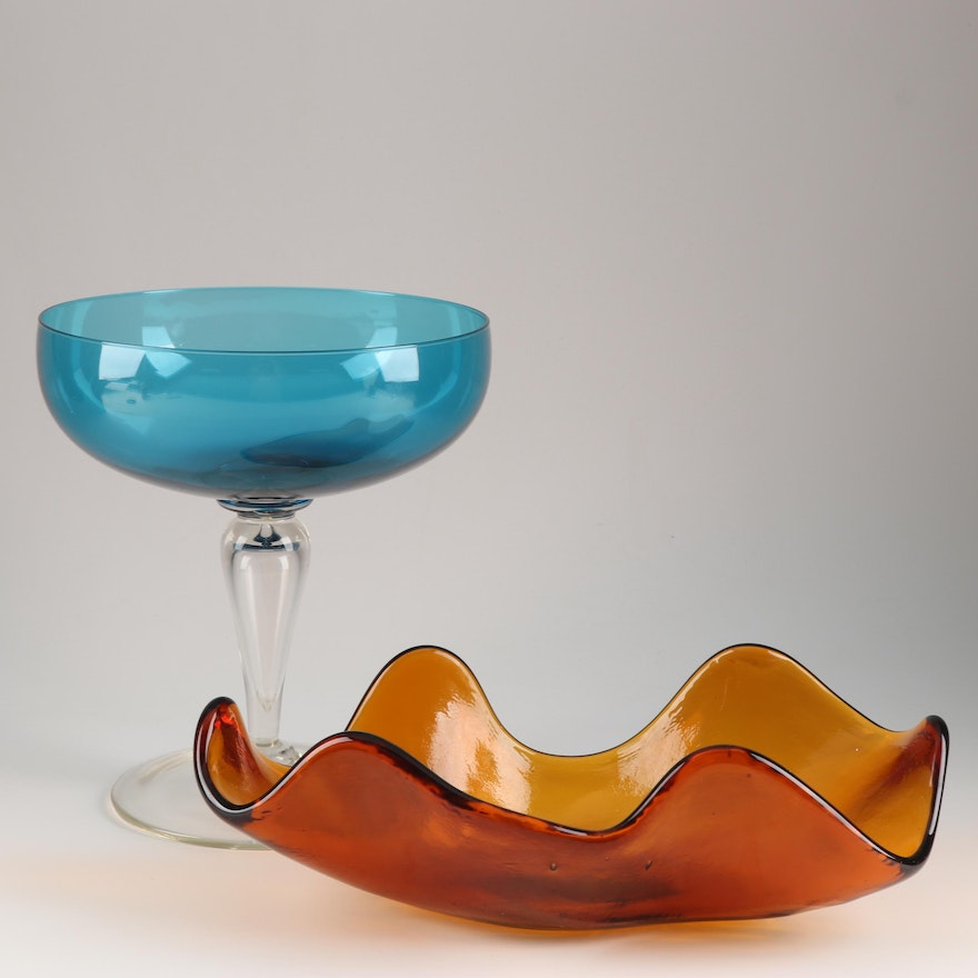 Art Glass Mouth Blown Compote and Free-Form Scalloped Bowl attributed to Blenko