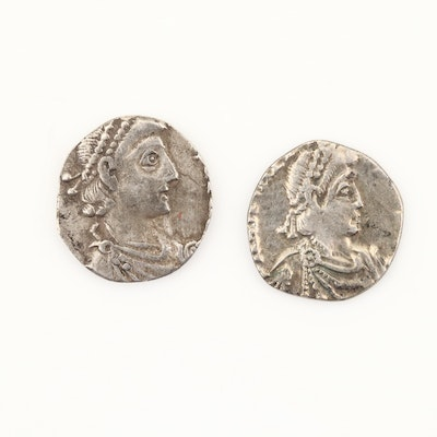 Two Clipped Post-Roman Britain AR Siliqua Coins, ca. 400 A.D.