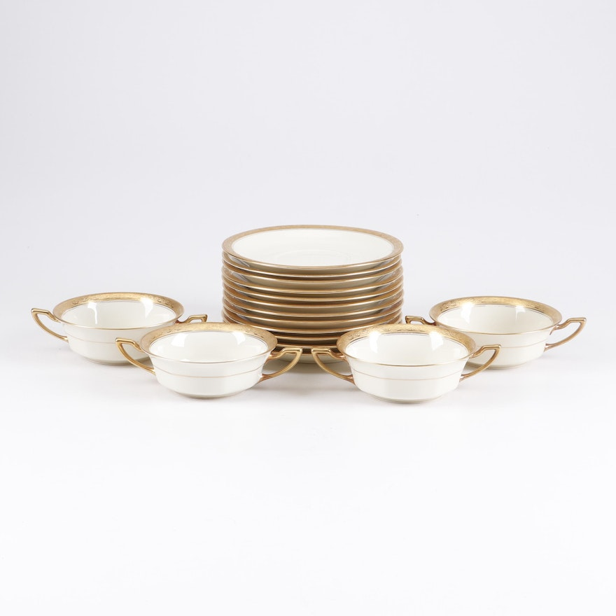 Rosenthal Ivory Porcelain Soup Cups and Saucers
