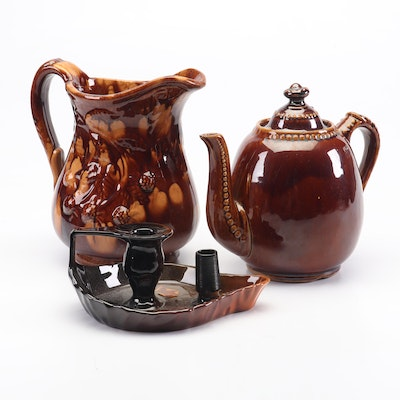 Rookwood Candle Holder with Bennington Pitcher and Teapot