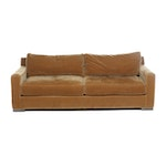 Golden Brown Mohair Upholstered Sofa, Late 20th Century