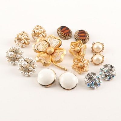 Fashion Clip-On Earrings and Demi-Parure Featuring Coro, Vintage