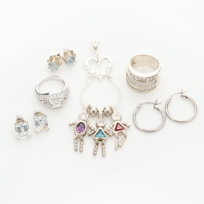 Assortment of Sterling Silver Gemstone Rings, Earrings and Charm Pendant