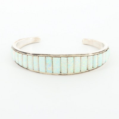 Sterling Silver Synthetic Opal Cuff Bracelet