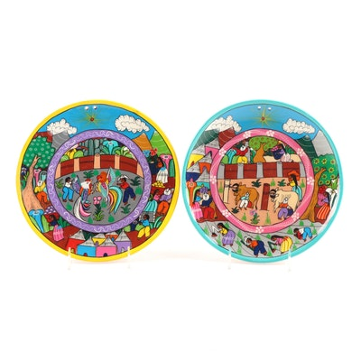 Mexican Hand-Painted Terracotta Cabinet Plates