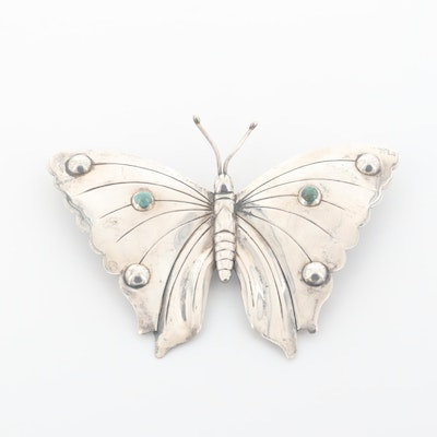 Vintage Sterling Silver Turquoise Butterfly Brooch