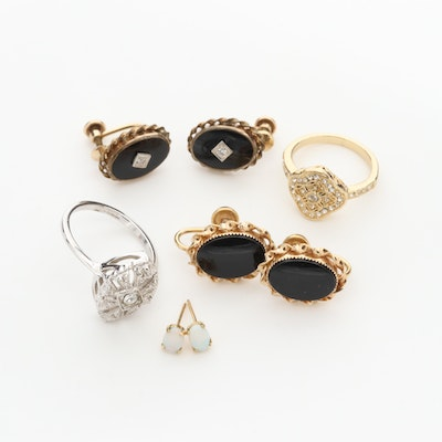 Diamond Black Onyx and Opal Earrings and Rings featuring Vintage Van Dell