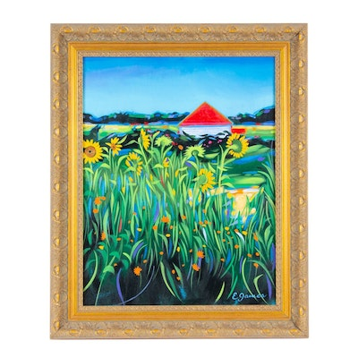 """E. James Oil Painting """"Sunflower Red Roof"""""""