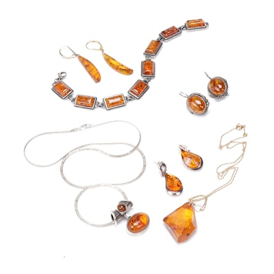Imitation Amber Jewelry Featuring Sterling Silver