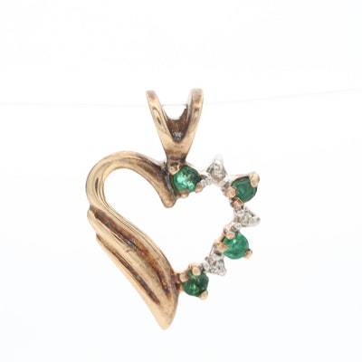 Alwand Vahan 14K Yellow Gold Emerald and Diamond Heart Pendant