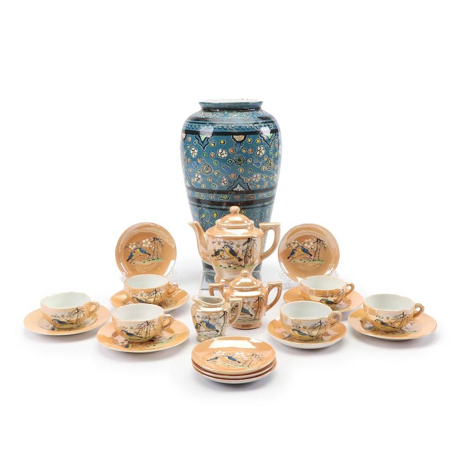 Hand-Painted Vase with Miniature Japanese Lusterware Tea Set