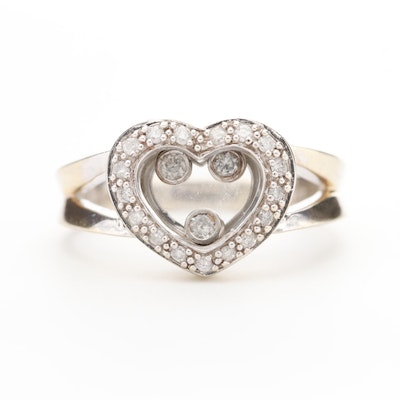 10K White Gold Diamond  Ring with Floating Heart Motif