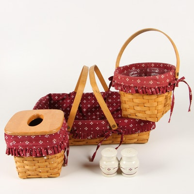 Longaberger Baskets with Ceramic Salt and Pepper Shakers